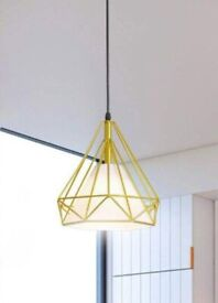 "Diamond Pendant Hanging Light in Yellow with Metal Frame - 10"" (25 cm)"