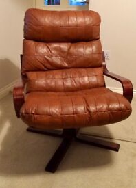 Brown Leather Armchair x 2