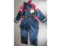 Two Mullion off shore survival/flotation PDF suits both XL 1 orange and 1 navy/red, both brand new