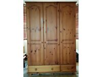 Solid Pine Triple Wardrobe with Drawers £30
