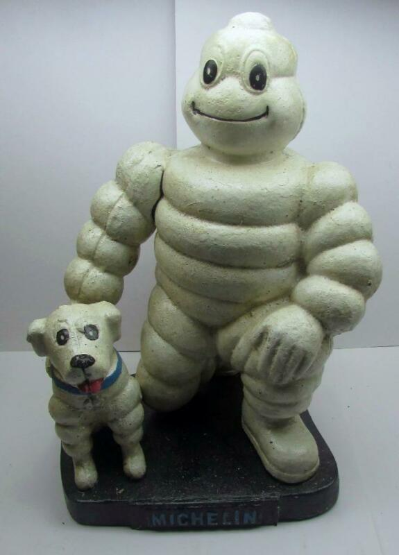 "Michelin Man with Dog London 1930, Cast Iron 10"" Tall Statue"