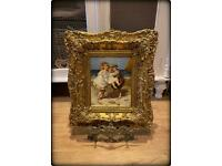 Antique Oil On Panel Painting 'Children at Seaside' Unsigned