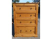 Solid Pine Chest of Drawers /4 drawers/Croydon/Surrey/Can deliver locally