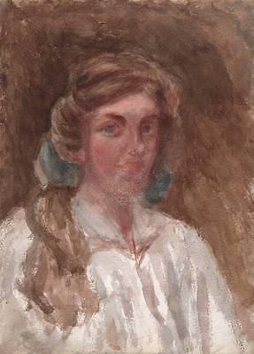 IMPRESSIONIST PORTRAIT LADY VICTORIAN Watercolour Painting c1900