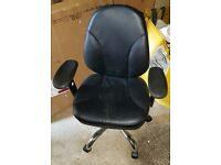 BLACK PADDED COMPUTER CHAIR - FULLY ADJUSTABLE