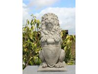 Lion with a shield stone garden ornament - Lion Statue