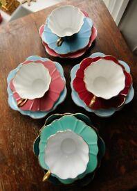 Vintage royal stewart Harlequin Teaset - STUNNING 12 pieces, lovely colours
