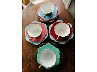 Vintage royal stewart Harlequin Teaset - STUNNING 12 pieces, lovely colours