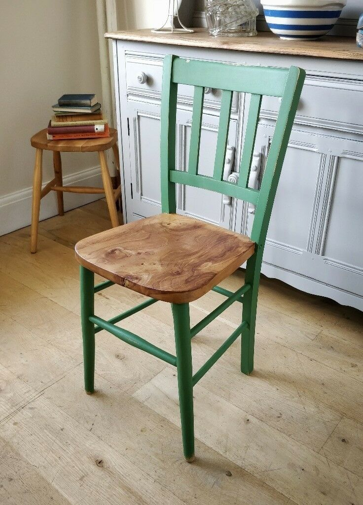 Painted Chair. Vintage Chair. Kitchen Chair. Dining Chair. Green Chair.  Wooden