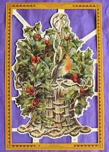 Victorian-Scrap-Paper-Die-Cut-Holly-Robin-in-Basket-Christmas