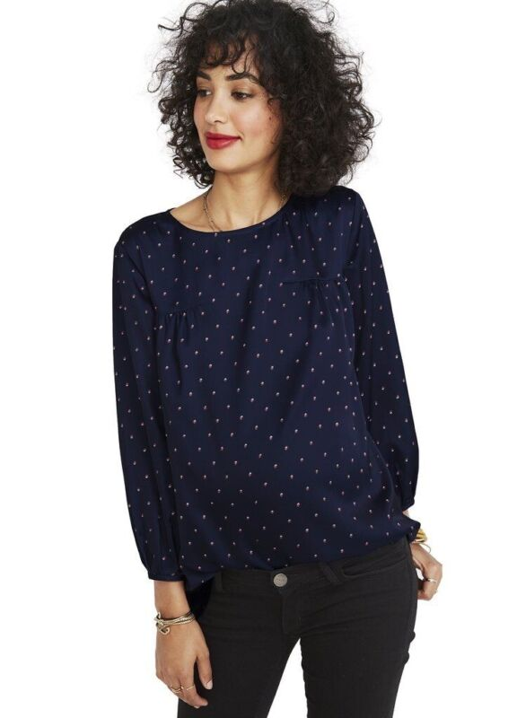 Hatch Maternity Women's THE DELFINA TOP Royal French Dot Size 2 (M/8-10) NEW