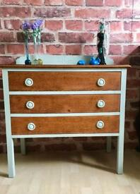 Vintage Solid Oak Hand Painted Chest of Drawers