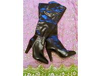 NEW NINE WEST BOOTS BROWN PATENT LEATHER LONG PANELLED Shiny Faux Fur Lining Size 7-8 (9W) DESIGNER