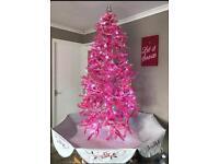 Snowing pink Christmas tree