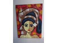 Acrylic on Canvas Painting of a Balinese Woman, bought from Bali, Indonesia