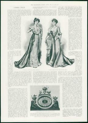 6d2c1e6ad3 1901 Antique Print - FASHION Dinner Dress Empire Design Directoire Gown (389 )