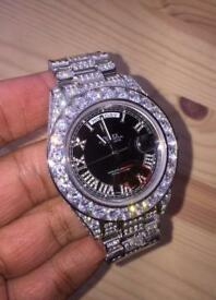 Exclusive rare spec diamond rolex fully iced out Swiss not Cartier not Audemars