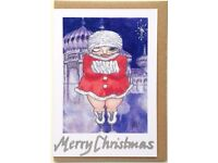 5 x CHRISTMAS CARDS + ROYAL PAVILION - individually HAND FINISHED on RECYCLED card & brown envelopes