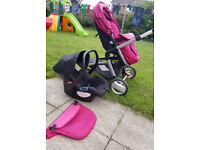Mothercare roam travel system (pram and car seat and wheels)