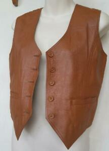 Womens Leather Vest S M 34 36 Vintage Brown Next to New Motorcycle Biker Summer Waistcoat