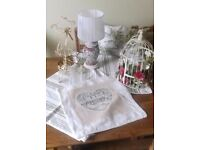 Shabby Chic and Vintage Home Accessories bundle. Includes Vintage china lamp stand, cushion covers..