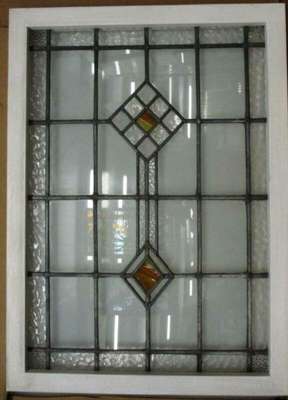 "LARGE OLD ENGLISH LEADED STAINED GLASS WINDOW Lovely Diamond 25.5"" x 35.5"""