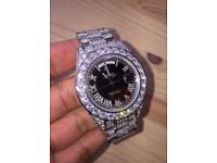 Exclusive fully iced out diamond rolex oyster perpetual stamped automatic Swiss watch