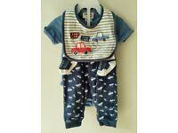 4 Piece Chick Pea Matching Car Print Baby Clothes Bundle Set 3-6 Months
