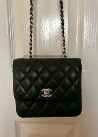 Chanel mini flap black lambskin bag cross back handbag LV YSL Zara