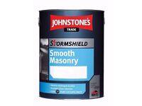 Johnstones Stormproof Smooth Masonry Trade Paint - Light Grey 1 x 5 litre tin New