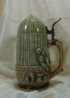 Vintage German Ceramic Stein w/ Ceramic Lid, Acorn Shape w/Oak Leaves and Acorns