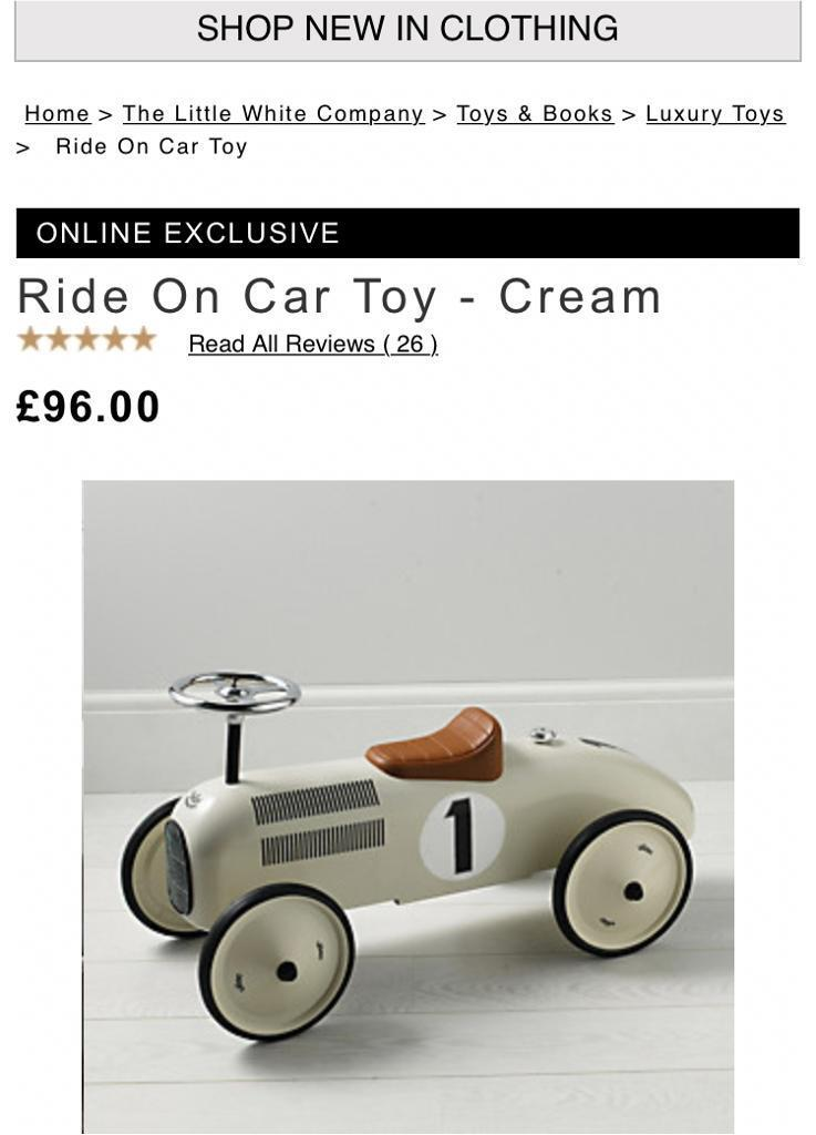 The white company ride on car for 18+ months