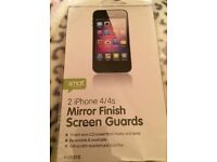 MIRROR FINISH SCREEN GUARDS FOR APPLE IPHONE 4/4S (PACK OF 2) BRAND NEW