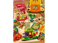 Selection of baby and toddler toys.