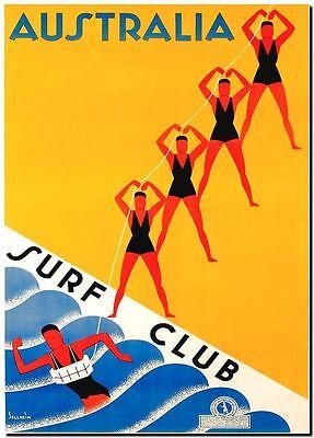 Cool Retro Travel Poster *FRAMED* CANVAS ART Australia Surf Club (Cool Frames Australia)
