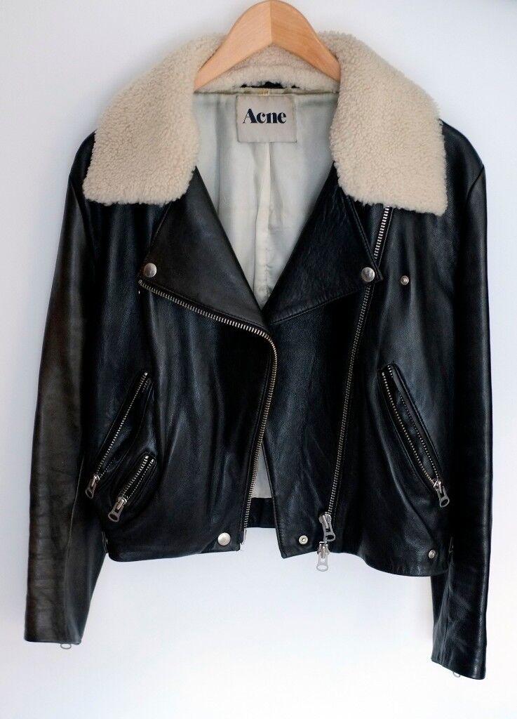 ed7db21f514a6 Acne Studios black biker jacket (RITA) with a detachable shearling collar