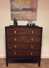 Beautiful solid retro upcycled chest of drawers in chalk graphite and teak wood varnish finish