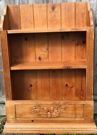 Vintage shabby clique wooden wall shelf unit. Can deliver