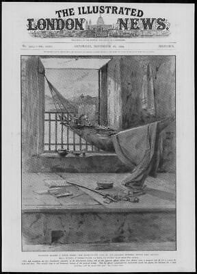 1904 Antique Print - PORT ARTHUR Japanese Officer Hammock Mosquito Net (306)
