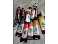 Acrylic paints brushes canvases and mediums