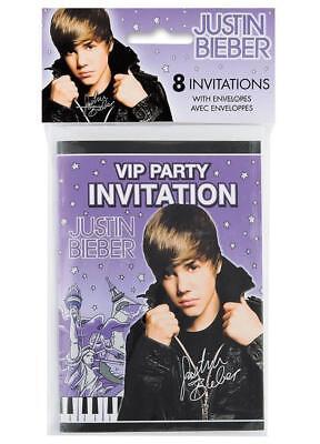 Justin Bieber Birthday Party Invitations 8 Per Package NEW - Justin Bieber Invitations