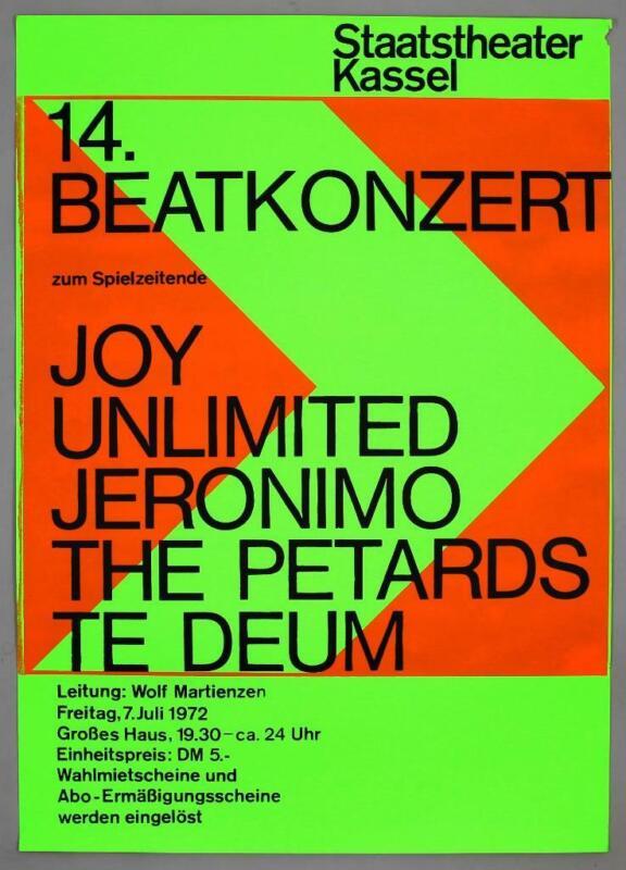 JOY UNLIMITED + JERONIMO The Petards rare original 1972 krautrock concert poster