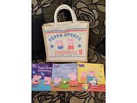 peppa pig books and hessian bag