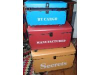 Rustic Wooden Trunks x 3 By Cargo Manufactured and Secrets Box sturdy storage