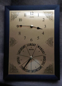 Dayclock with time & day of the week Help with memory loss. Brass/black coloured