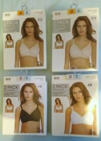 BHS 2 packs of 100% cotton non-wired, non-padded bra's 32C