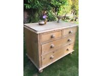 Victorian antique pine stripped chest of drawers