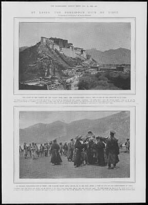 1904 Antique Print - TIBET Lhasa Forbidden City Dalai Lama Palace Treaty  (224)