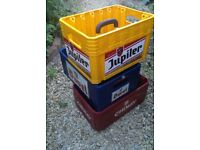 Three Belgium Beer crates - ideal for home brew or display..or upcycle !