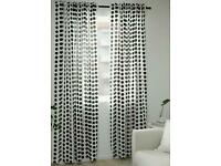 Two Pairs (4 curtains) of IKEA Black and White polka dot curtains